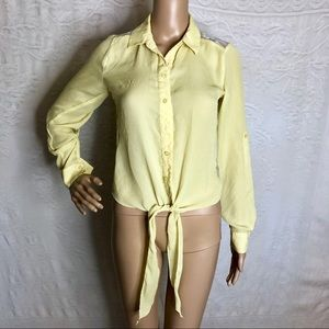 Yellow Lace Back Tie Top